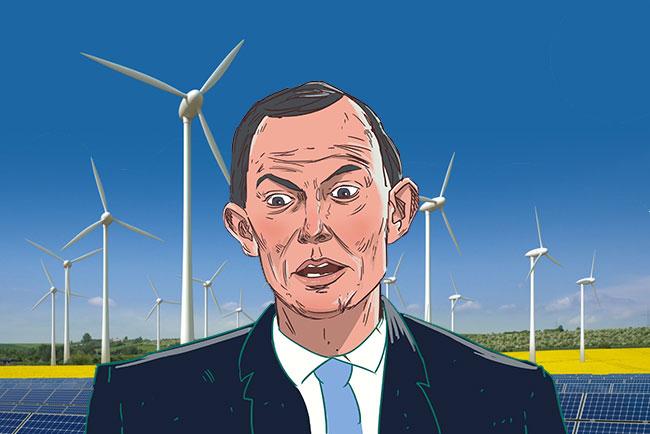 tony abbott with wind turbines