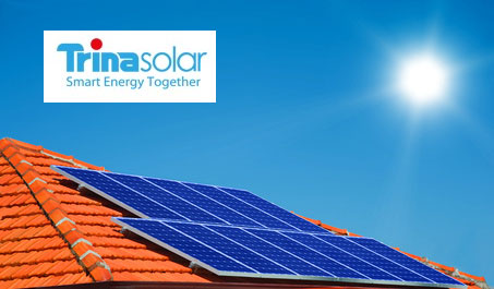 solar panels on a roof and trina solar logo