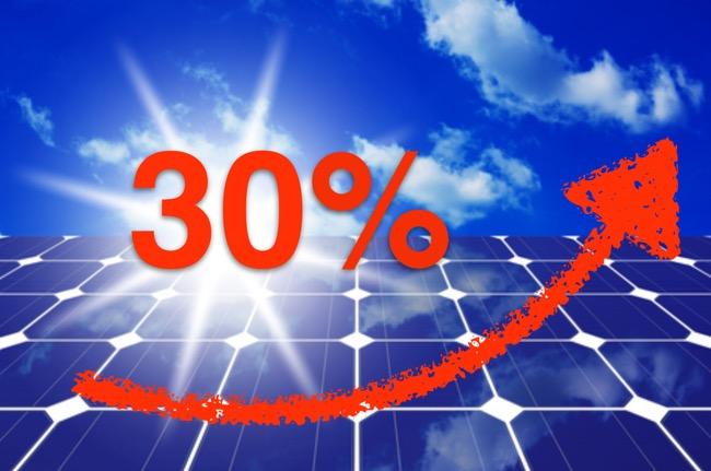 30% badge on a solar panel