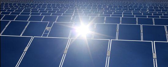 Thin Film Solar Panels in a solar farm