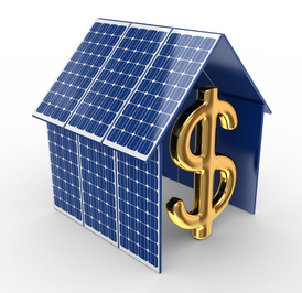 solar panels and a dollar sign