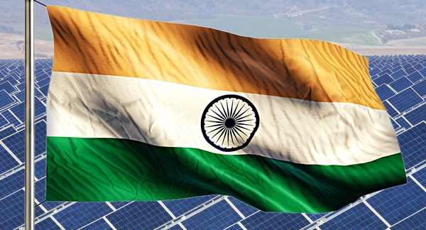 indian flag and solar panels