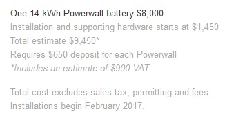 A screen capture of the Tesla Powerwall 2 price from Tesla's Australian website.
