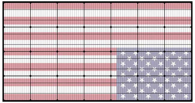 usa flag in solar cells