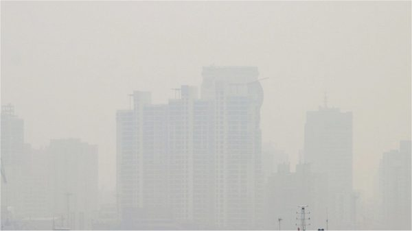 Air pollution in China blocking sunlight