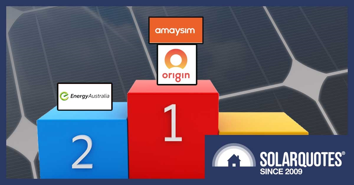 Winner's podium showing cheapest electricity plans for 6.5kW solar owners -- Amaysim, Origin, and Energy Australia.