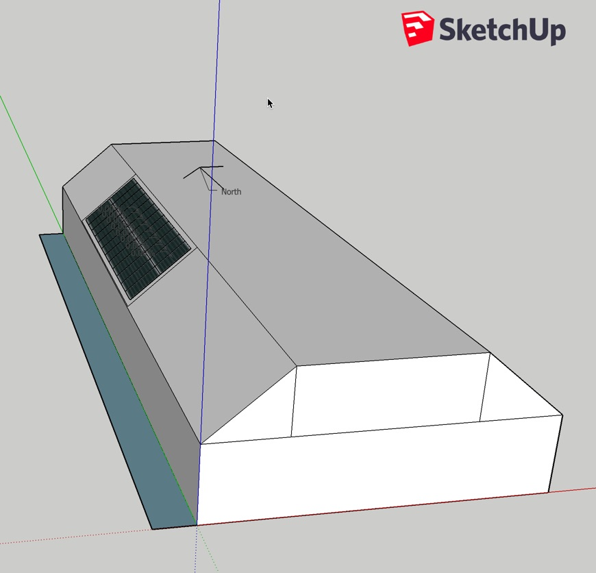 Solar panels filling the sketchup image