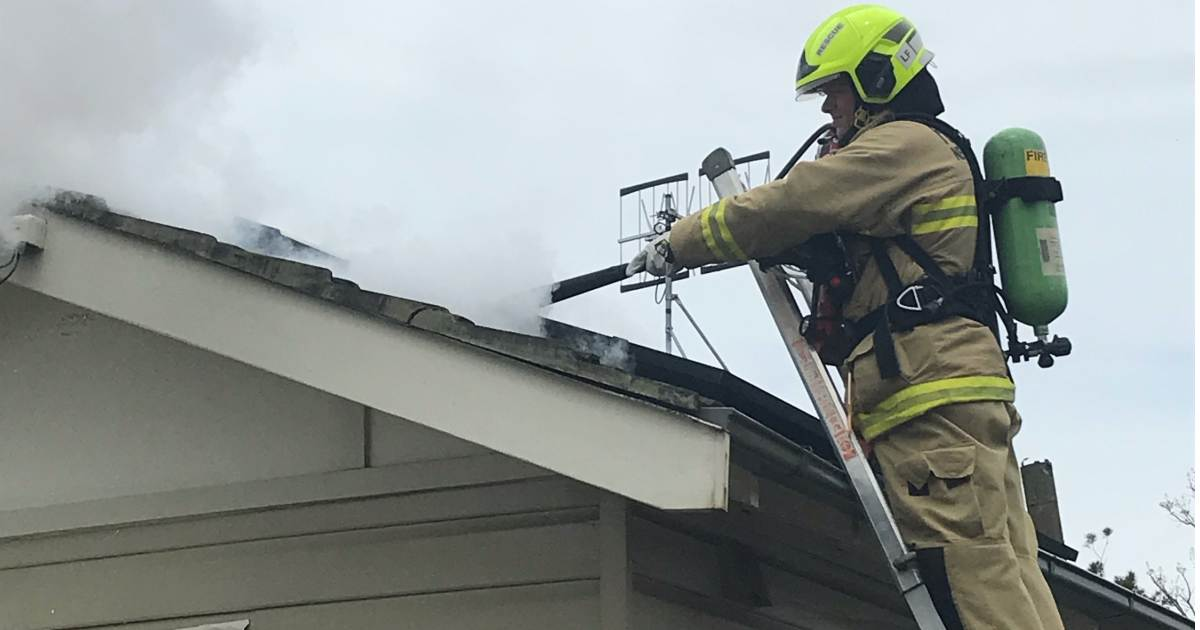 Rooftop solar panel fire