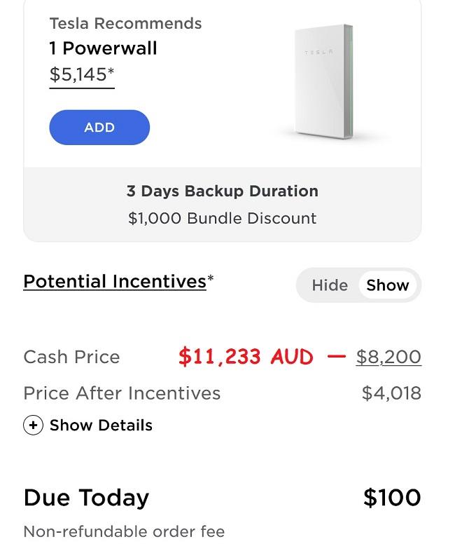 US Tesla Powerwall price - November 2020
