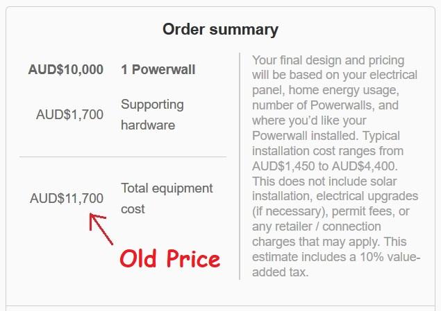 Tesla Powerwall old price