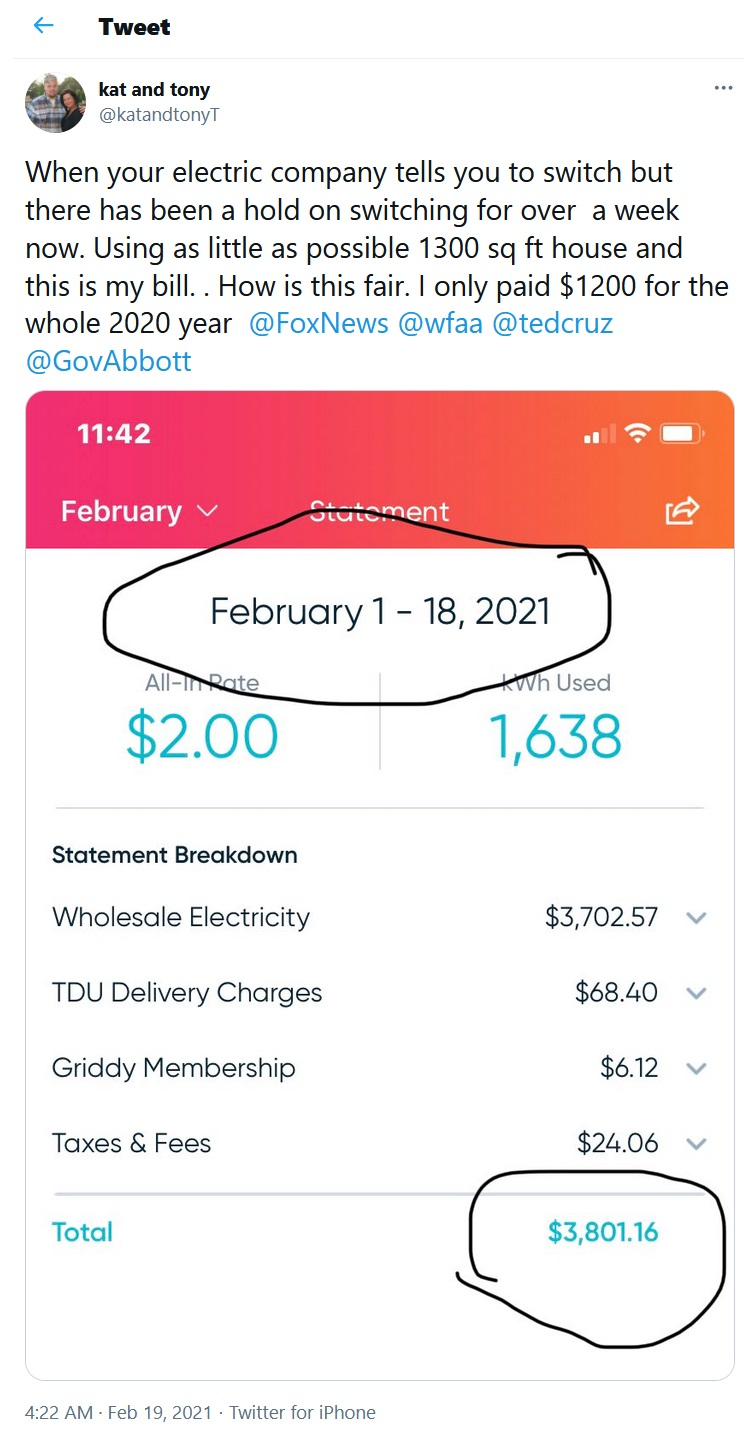 Texas snowstorm electricity bill