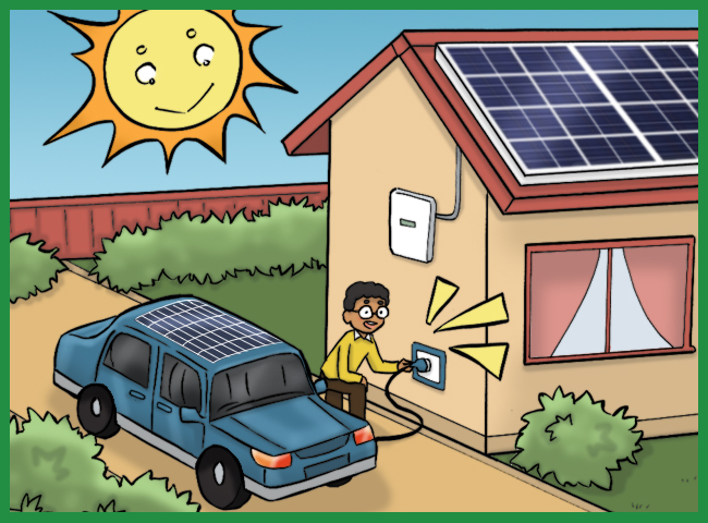 solar panels and electric car charging