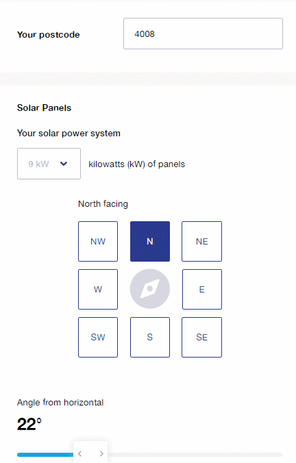 Size of solar power system and orientation